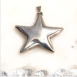 Sterling Silver Signed Star Charm Pendant